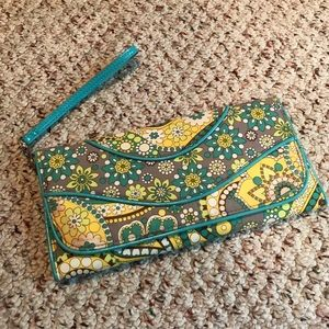Vera Bradley blue green printed clutch bag